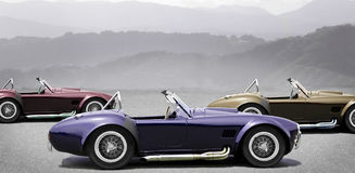 Tres coches de deportes convertibles Imágenes de archivo libres de regalías