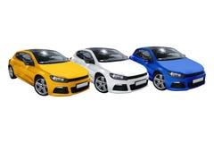 Tres coches, Volkswagen Scirocco Imagen de archivo libre de regalías