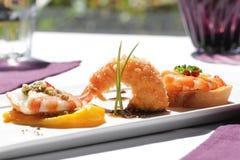 Tres cocinados de camarón Imagen de archivo libre de regalías