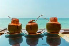 Tres cocos con el jugo fresco Foto de archivo