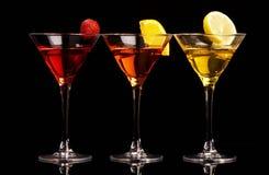 Tres cocteles coloridos Foto de archivo libre de regalías