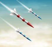 Tres cohetes stock de ilustración