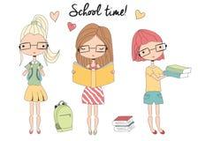 Tres colegialas jovenes con los vidrios, bolso de escuela, libros libre illustration