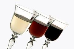 Tres colores del vino fotografía de archivo