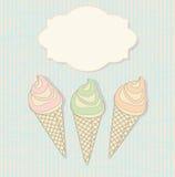 Tres conos de helado con una etiqueta en blanco Imagen de archivo