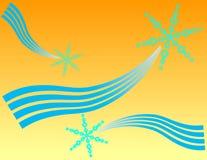 Tres copos de nieve azules Fotografía de archivo libre de regalías