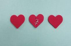 Tres corazones Fotografía de archivo libre de regalías