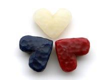 Tres corazones de la cera fotos de archivo