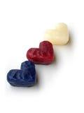Tres corazones de la cera, diagonales foto de archivo libre de regalías