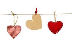 Tres corazones decorativos Imagen de archivo libre de regalías