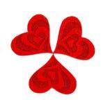 Tres corazones hechos del paño Foto de archivo libre de regalías