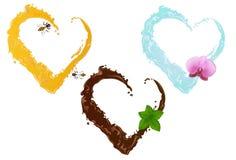 Tres corazones líquidos. Vector Foto de archivo libre de regalías