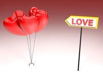 Tres corazones para el día de tarjetas del día de San Valentín Imagen de archivo libre de regalías