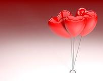 Tres corazones para el día de tarjetas del día de San Valentín Foto de archivo
