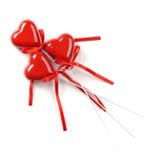 Tres corazones rojos Fotografía de archivo libre de regalías