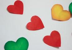 Tres corazones rojos Fotos de archivo