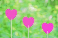 Tres corazones rosados Imágenes de archivo libres de regalías