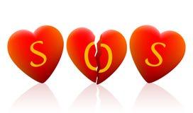 Tres corazones SOS Imágenes de archivo libres de regalías