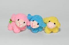 Tres corderos suaves de los juguetes Imagen de archivo libre de regalías