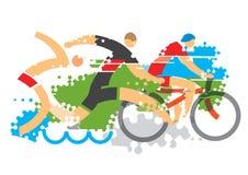 Tres corredores del Triathlon Imagenes de archivo