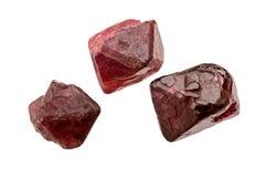Tres cristales de rubí sintético fotos de archivo libres de regalías