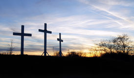 Tres cruces de madera Imagen de archivo