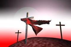 Tres cruces en la puesta del sol Foto de archivo libre de regalías