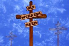 Tres cruces, pecado, enfermedad, necesidad Foto de archivo libre de regalías