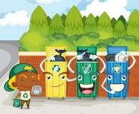 Tres cubos de basura Foto de archivo libre de regalías
