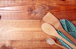Tres cucharas de madera Fotografía de archivo