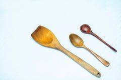 Tres cucharas de madera Fotos de archivo