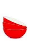 Tres cuencos rojos imagen de archivo libre de regalías