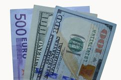 Tres cuentas: nuevos 100 dólares, viejos y 500 euros Fotografía de archivo libre de regalías