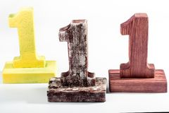 Tres dígitos uno de madera fotos de archivo libres de regalías