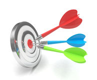 Tres dardos multicolores de las flechas en el centro stock de ilustración