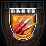 Tres dardos rojos en el centro de escudo Logotipo del deporte para cualquier juego o campeonato de los dardos ilustración del vector