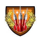 Tres dardos rojos entre la guirnalda de oro en el centro del escudo en blanco Logotipo del deporte para cualquier juego o campeon ilustración del vector