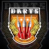 Tres dardos rojos entre la guirnalda de oro en el centro del escudo Logotipo del deporte para cualquier juego o campeonato de los libre illustration