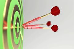 Tres dardos rojos que golpean la diana ilustración 3D ilustración del vector