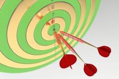 Tres dardos rojos que golpean la diana ilustración 3D libre illustration