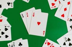 tres de un as de la clase, tarjeta del póker fotografía de archivo