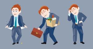 Tres de un hombre de negocios en la situación triste Ilustración del Vector