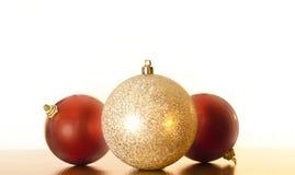 Tres decoraciones de la Navidad Foto de archivo libre de regalías
