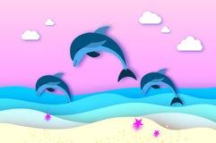 Tres delfínes de salto en el mar en papel cortaron estilo La papiroflexia acodó paisaje marino hermoso y el cielo Océano Pacífico stock de ilustración
