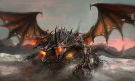 Tres dirigieron el dragón ilustración del vector
