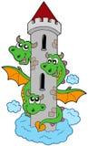 Tres dirigieron el dragón con la torre Imagen de archivo