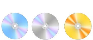 Tres discos del Cd/del dvd Foto de archivo libre de regalías