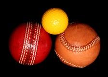 Tres diversas bolas del deporte Fotos de archivo libres de regalías