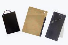 Tres diversas escrituras de la etiqueta Imagenes de archivo
