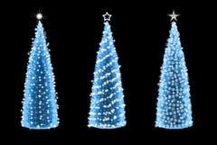 Tres diversos adornados del árbol de navidad abstracto Imagen de archivo